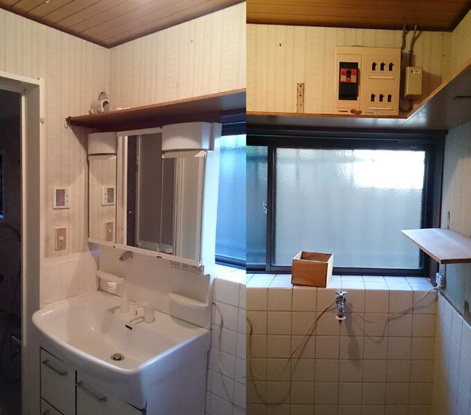 洗面所をDIY ビフォー カビだらけの壁と床