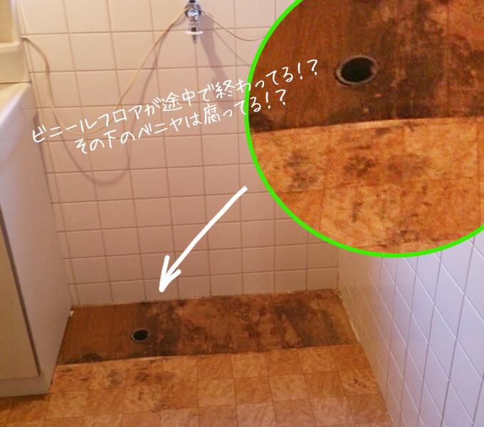 洗面所をDIY ビフォー カビだらけの床とむき出しの排水溝の穴