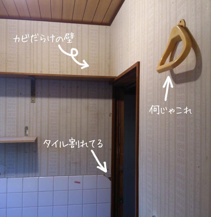 洗面所をDIY ビフォー カビだらけの壁