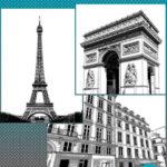 マンガ背景素材 フランス パリ セット