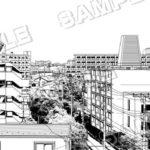 マンガ背景素材 マンションが建ち並ぶありがちな住宅街