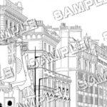 マンガ背景素材 イギリス ロンドン 高級住宅街